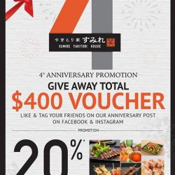 [Sumire Yakitori House] 4th Anniversary 20% Cash Back Voucher & Give away total $400 dining Voucher @sumiresg 🎉🎉🎉🎉[1] Like Both Our Facebook & Instagram sumiresg [