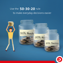 [OCBC ATM] Use the 50-30-20 rule as a guide for budgeting to make your everyday decisions easier.