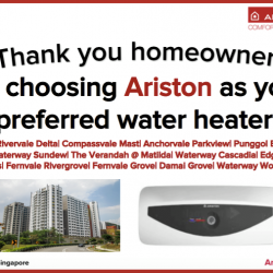 [Ariston] Thank you homeowners of these estates for choosing Ariston as your preferred water heater.
