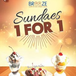 [New Zealand Natural Café] From now till 31 August 2017, you can now have 1 for 1 Sundaes at Breeze Café.