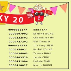 [Golden Village] A big ️🎉congratulations️🎉 to the 20 lucky winners from our Members' Monthly Draw!
