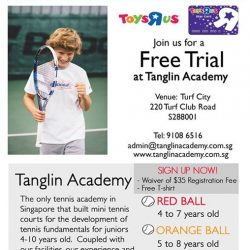 [Babies'R'Us] Sign your kids up for a free trial at Tanglin Tennis Academy!
