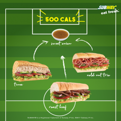[Subway Singapore] All our subs are below 500 calories when paired with our Sweet Onion sauce.