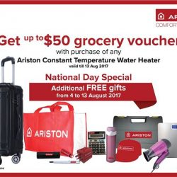 [Ariston] If you purchase any Ariston Water heater from 4 to 13 August 2017, you'll be entitled to redeem a