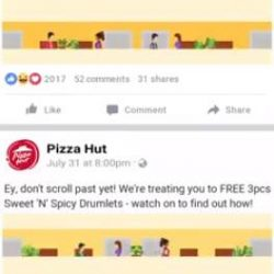 [Pizza Hut Singapore] To get FREE 3pcs Sweet N' Spicy Drumlets, simply TAP to unfurl the great flag and find out how!