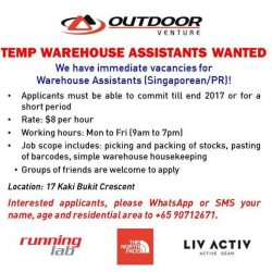 [Running Lab] We're looking for TEMP WAREHOUSE ASSISTANTS for our Warehouse at Kaki Bukit!