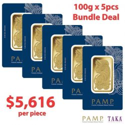 [Taka Jewellery Treasures] Enjoy great savings in August with our 100g PAMP Gold bundle deal at only SGD $5,616 per piece.