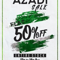 [Urban Studio] AZADI SALE   I   Flat 50% Off ENTIRE STOCK   I   12th To 14th Aug Only Celebrate The Happiness Of Independence With