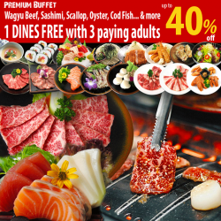 [Tenkaichi] 1 DINES FREE with 3 paying adults for Premium Buffet.