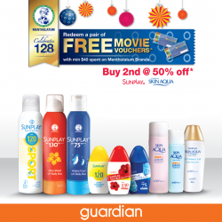 [Guardian] Redeem a pair of free movie vouchers when purchasing your favourite Sunplay and Skin Aqua sunscreens!