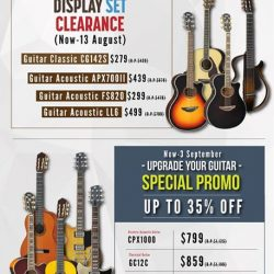 [YAMAHA MUSIC SQUARE] Check out latest promotion for guitars at our retail stores or simply visit our Yamaha e-shop for more selection