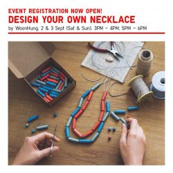 [Uniqlo Singapore] DIY your own necklace using sustainable and handcrafted wood components from Cebu, Philippines.