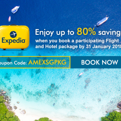 [American Express] Enjoy up to 80% savings when you book a participating Flight and Hotel package on Expedia.