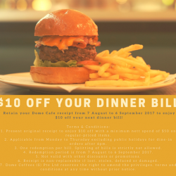 [DOME CAFE] Here's how to save $10 off your next bill at Dome!