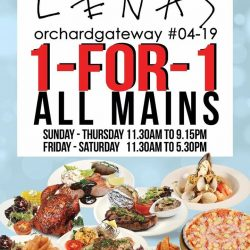 [Lenas ] 1 for 1 mains at Lenas Orchard gateway 04-19.