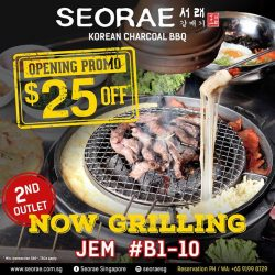 [SEORAE] There's still a chance to get  $25 OFF for this month dining at our second outlet, JEM B1-10.
