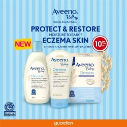[Guardian] Introducing the new Aveeno Baby Dermexa range, formulated with Triple Oat Complex and Ceramide to protect and restore moisture to