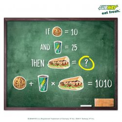[Subway Singapore] Solve the BBQ Chicken math puzzle.