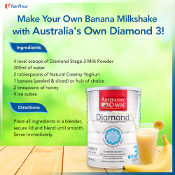 [NTUC FairPrice] This 6-ingredient banana milk using Australia's Own Diamond Step 3 is a nutritious and fun twist you can