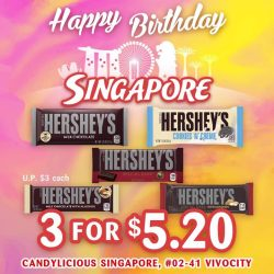 [Candylicious] Joining in the celebration are Hershey's happy chocolate bars filled with delicious goodness.