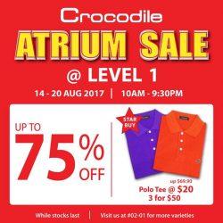 [Crocodile] Don't miss the chance and grab the best deals at Crocodile Atrium Sale @ Jurong Point Shopping Mall.