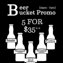 [Table Manners] BEER BUCKET PROMOChoose from a wide variety of beers such as Estrella Galacia, Carlsberg, Menabrea Bionda and Ambrata!