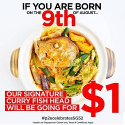 [West Coast Plaza] West Coz Cafe celebrates our nation's 52nd birthday by giving away their Signature Curry Fish Head for just $1