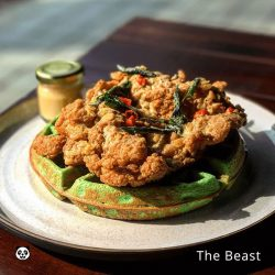 [foodpanda] Chicken on waffles is an American favourite - but we have from The Beast, Salted Egg Yolk Chicken & Pandan Waffles!