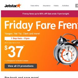 [Jetstar] 🕗 Frenzy Fares up to 55% off! 23 destinations on sale.