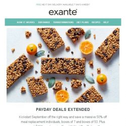 [Exante Diet] Extended Payday Deals | Massive Savings!