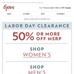 [6pm] Labor Day Clearance. Go!