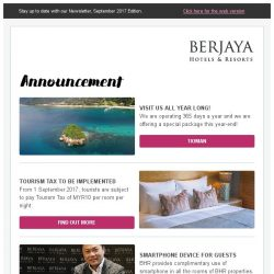 [Berjaya Hotels & Resorts EDm] It's time for holidays!