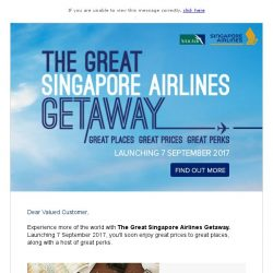 [Singapore Airlines] 3 more days to The Great Singapore Airlines Getaway!