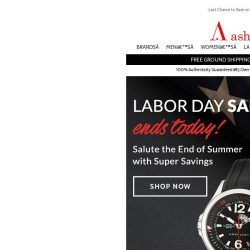 [Ashford] Final Day for Labor Day Watch Savings