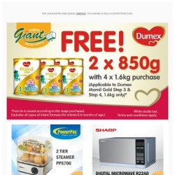 [Giant] FREEBIES from 🍼 Dumex, 🍊 Marigold and 🍚 Naturel! 👀 Check it out Now!