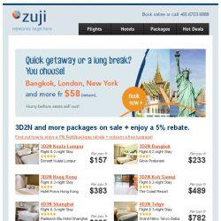 [Zuji] On Sale: Bangkok, London & more + 3D2N package deals!