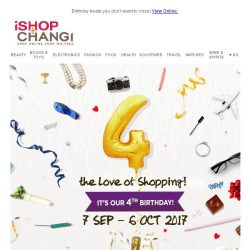 [iShopChangi] Party on 🎊 ! Starts 10 am with 40% off on our  4th Birthday!