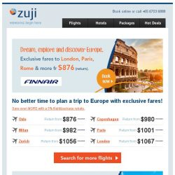 [Zuji] Ciao! Exclusive fares to Europe + 5% rebates!