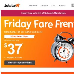 [Jetstar] 🕗 Frenzy Fares up to 55% off! 16 destinations on sale.