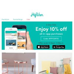 [HipVan] 2 day sale: 10% off for all in-app purchases!🙌