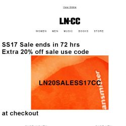 [LN-CC] DON'T MISS OUT - SS17 Sale ends in 72 hrs