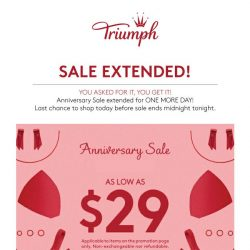 [Triumph] Sale Extended: Last Day TODAY!