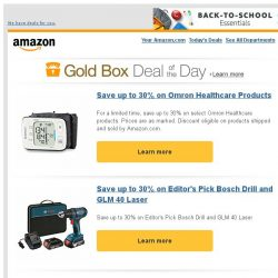 [Amazon] Save up to 30% on Omron Healthcare Products