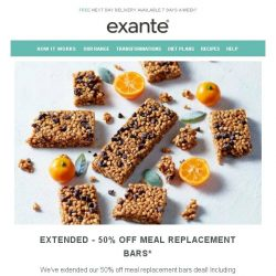 [Exante Diet] EXTENDED | 50% off Meal Replacement Bars
