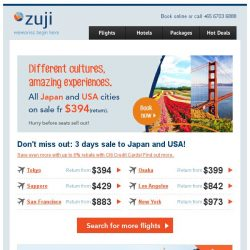 [Zuji] Japan and USA cities on sale fr $394 (return)!