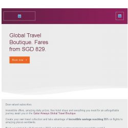 [Qatar] Global Travel Boutique. Fares from SGD 829.