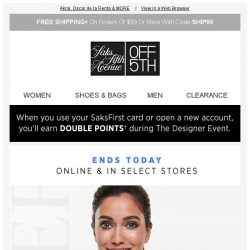 [Saks OFF 5th] ENDS TONIGHT: Up to 80% OFF designer, going fast!