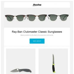 [Massdrop] Ray-Ban Clubmaster Classic Sunglasses, Spyderco Polestar G-10 Plain Edge Knife, Morakniv Fishing Comfort Knives and more...