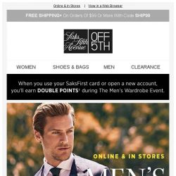 [Saks OFF 5th] Your Calvin Klein item is waiting + Shop Early at the Men's Wardrobe Event Private Preview