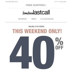 [Last Call] Confirmation: 40% off 1 item — you just landed this!